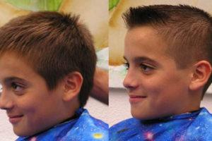 Taglio di capelli prima dopo Bambino